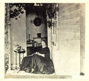 Mrs. John C. Fremont sitting at porch of Black Point residence 1866. (San Francisco History Center, San Francisco Public Library).